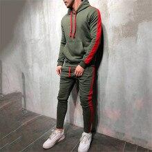 Heiße Mode Für Männer Laufen Set 2Pcs Atmungsaktive Sport Anzüge Trainingsanzug Männlichen Gym Sport Hip Hop Hoodies Sweatshirts 3XL