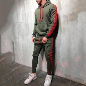 Image 1 - Hot Fashion Men Running Set 2Pcs Breathable Sport Suits Tracksuit Male Gym Sportswear Hip Hop Hoodies Sweatshirts 3XL