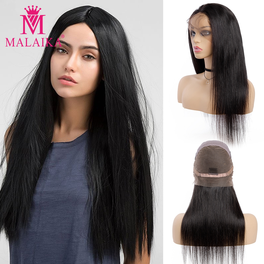 MALAIKA Straight Full Lace Human Hair Wigs Lace  Human Hair Wigs For Black Women 130% Density Long Brazilian Lace Wig