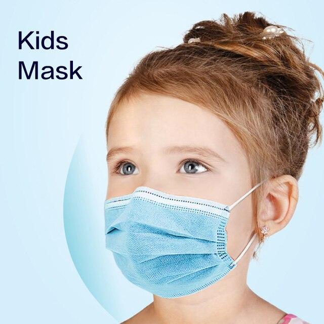 10/50 PCS Children Face Masks 3 Layer Elastic Melt-blown Anti-Flu Kids Disposable Mask Soft  Blue Pink Boys Girls 1