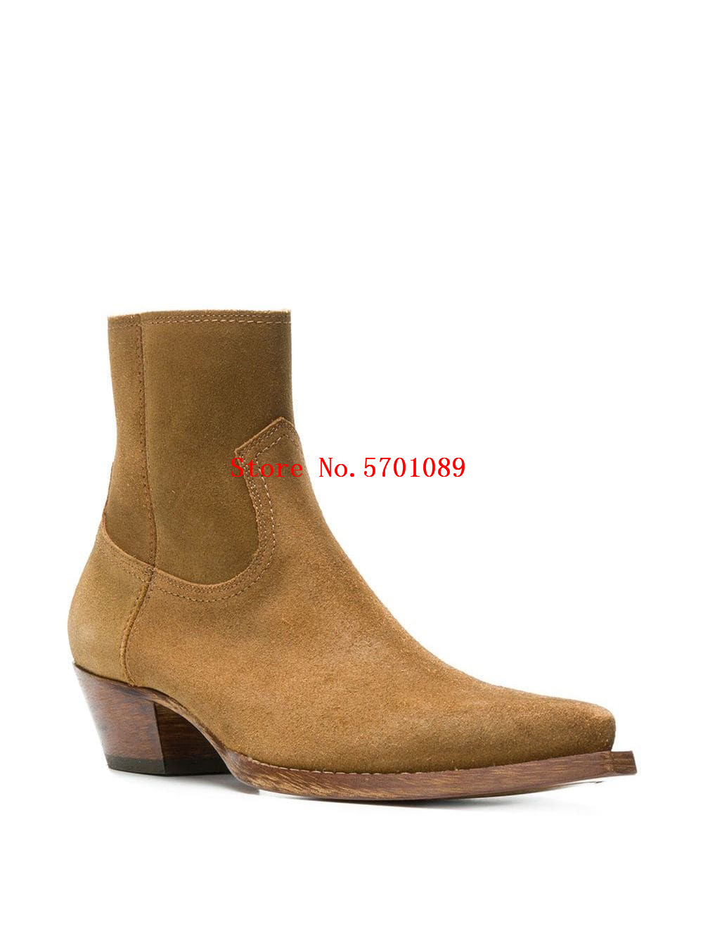 Man Shoes Lukas 40 Ankle Boots Brown Calf Leather Suede Pointed Toe Side Zip Stacked Heel Chelsea Boots Western Cowboy Boots