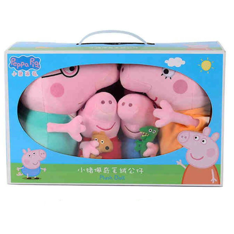 4pcs Original Peppa Pig Toys George Family Plush Stuffed Cartoon Animals Plush Doll Toys for Children Christmas Gift image