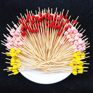 20/50pcs 12cm Heart Flower Bamboo Pick Buffet Cupcake Fruit Fork Party Dessert Salad Stick Cocktail Skewer for Wedding Decor(China)