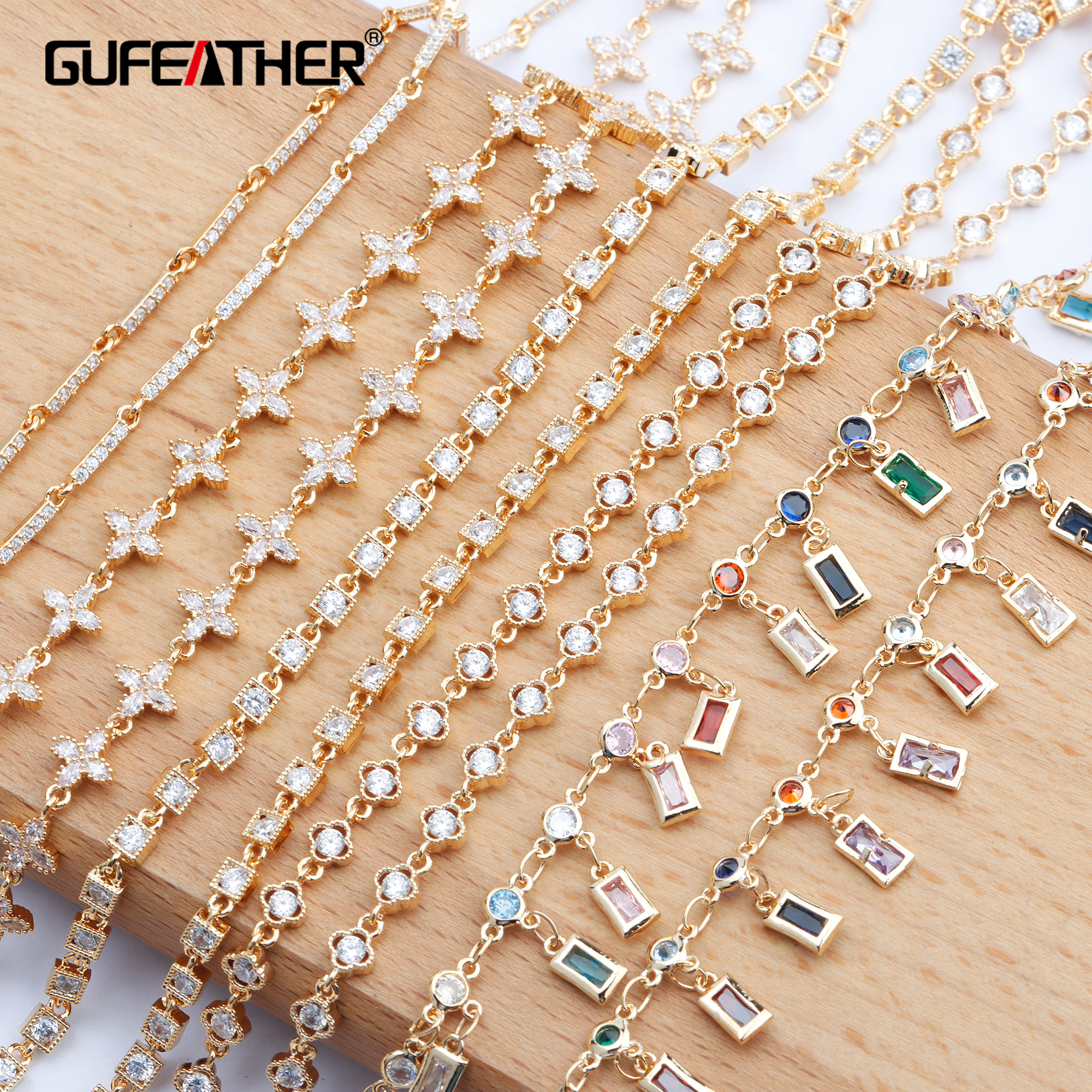 GUFEATHER C78,jewelry Accessories,diy Chain,18k Gold Plated,charms,zircon,hand Made,jewelry Making,diy Chain Necklace,50cm/lot