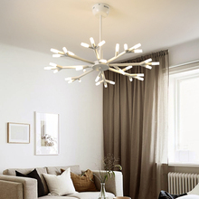 Nordic Living Room LED Chandelier Home Lighting Modern Dining Room Bedroom Light Luxury Tree Branch Hanging Flower with Light modern light luxury led crystal chandelier tree branch wedding decoration lamp for dining room bedroom