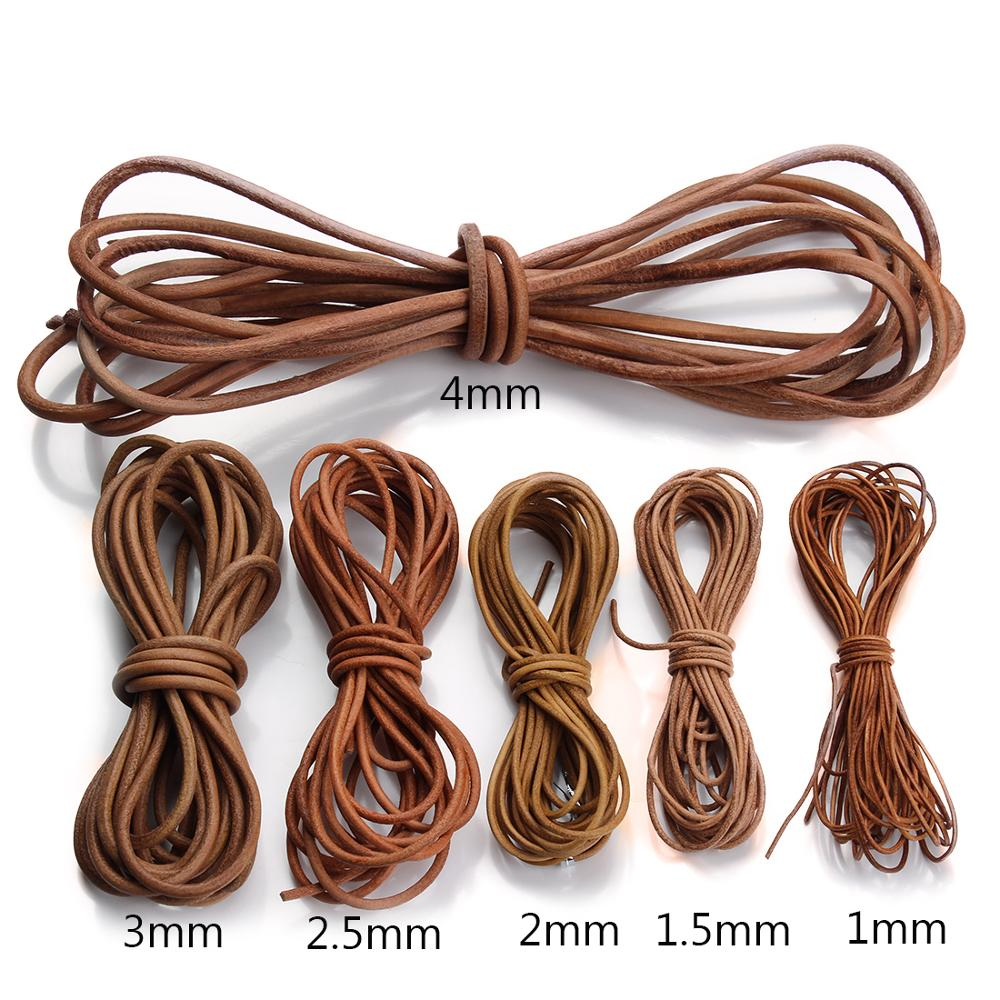 LOULEUR 5meter/lot 1.5 2 2.5 3 4 Mm Genuine Cow Leather Cord For Bracelet Vintage Brown Round Leather Rope String Jewelry