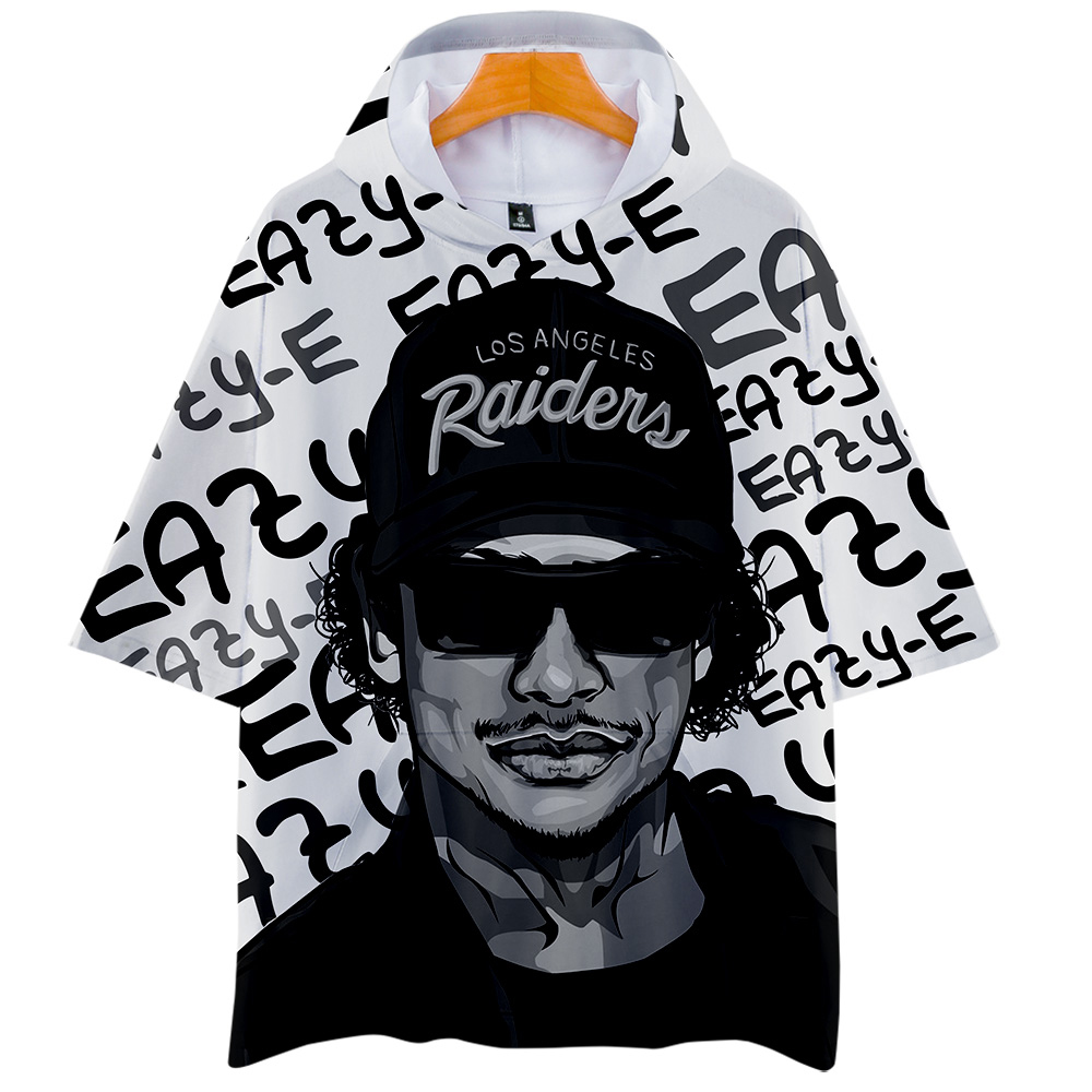 Luckyfriday Brand Hooded T Shirts Men Eazy E Compton Printed Short Sleeve Tees Gangsta Rap Hip Hop Men's Fashion T Shirt Tops image
