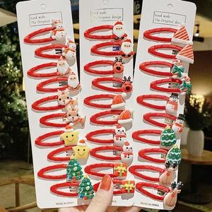 10PCS/Set Girls Cute Christmas Cartoon Hair Clips Scrunchies Kids Lovely Headband Hair bands Hairpins Fashion Hair Accessories