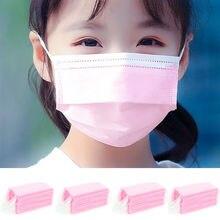 20-200 pièces jetables enfants rose masque Non tissé 3 couche poussière respirant masque filles rose visage bouche masque Mascarilla Infantil