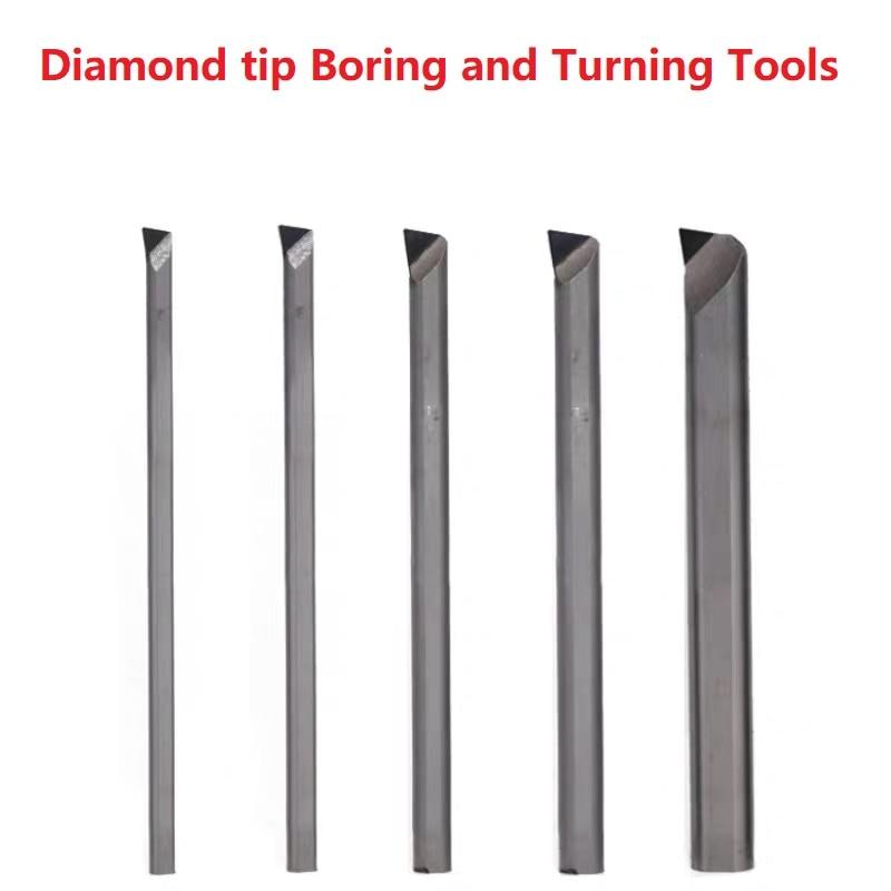 Diamond Boring Tool Turning Lathe Tools Bore Cutter PCD CNC Borer Bar Bit Steel Body 6mm Hole Tool For Processing Aluminum Brass