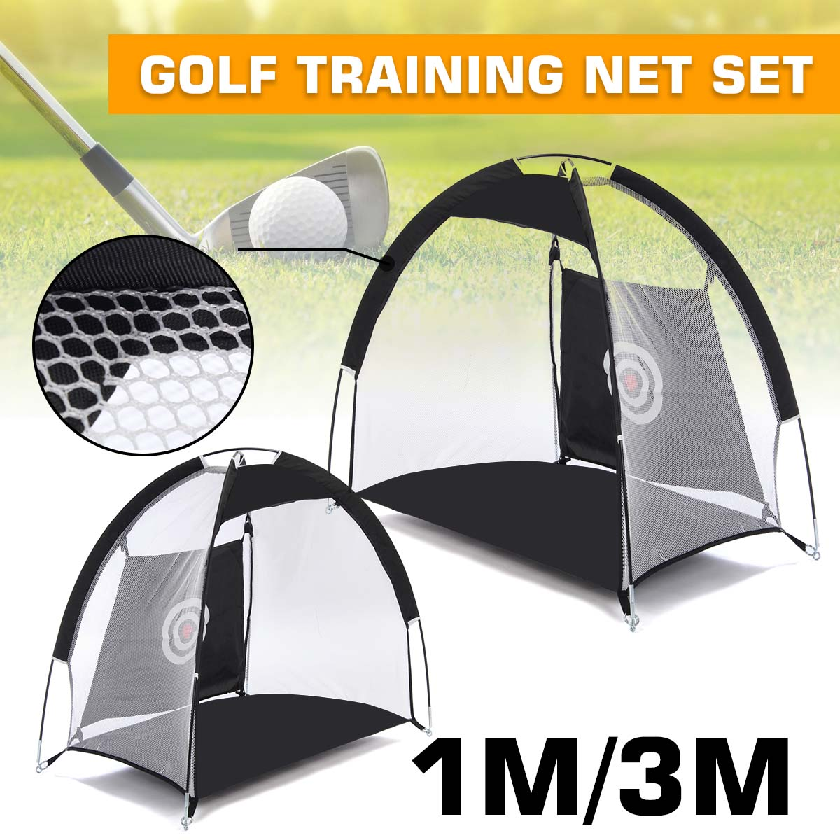 1M/3M Foldable Golf Net Practice Net Chipping Net Hitting Cage Trainer Indoor/Outdoor Grassland Golf Training Aids Equipment