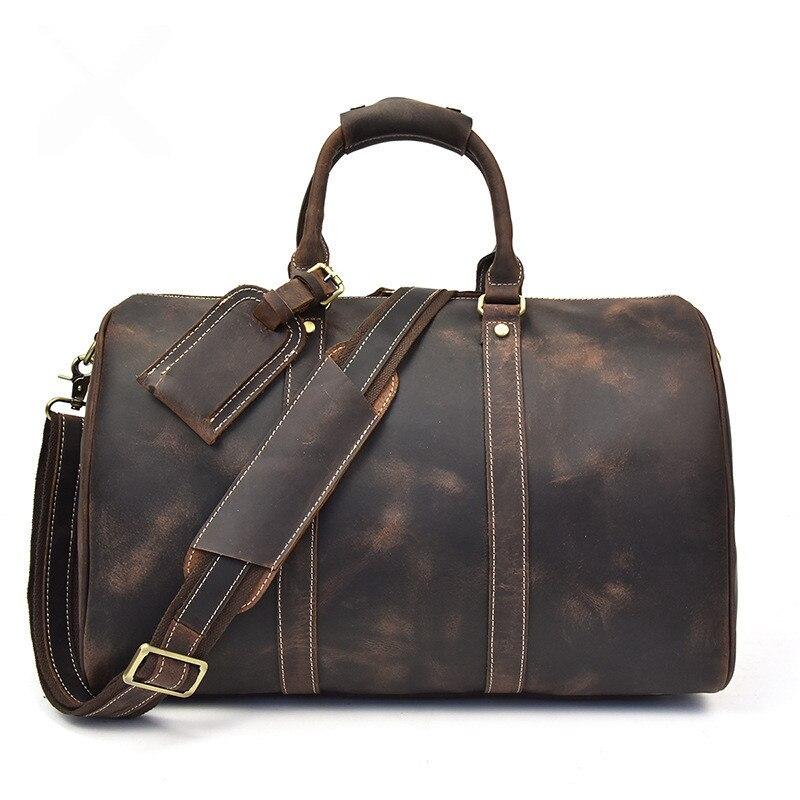 Men Vintage Crazy Horse Genuine Leather Travel Bags Handbags Duffle Cowhide Men's Shoulder Bag Carry on durable Luggage Totes