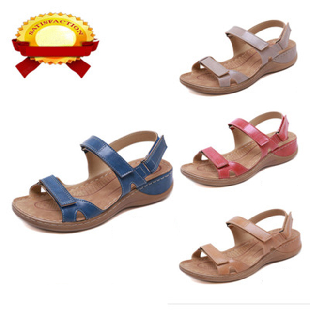 2020 New Women Sandals Soft Three Color Stitching Ladies Sandals Comfortable Flat Sandals Open Toe Beach Shoes Woman Footwear 4