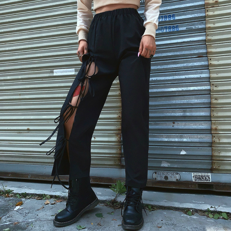 Autumn women's wear new high waist casual hollow strap-on trousers lace up high waist dance street style leisure   pants     capris