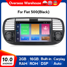 Carplay autoradio android 10 quad core carro dvd media player para fiat 500 rádio vídeo multimídia buit em dps rds carro gps wifi 4g