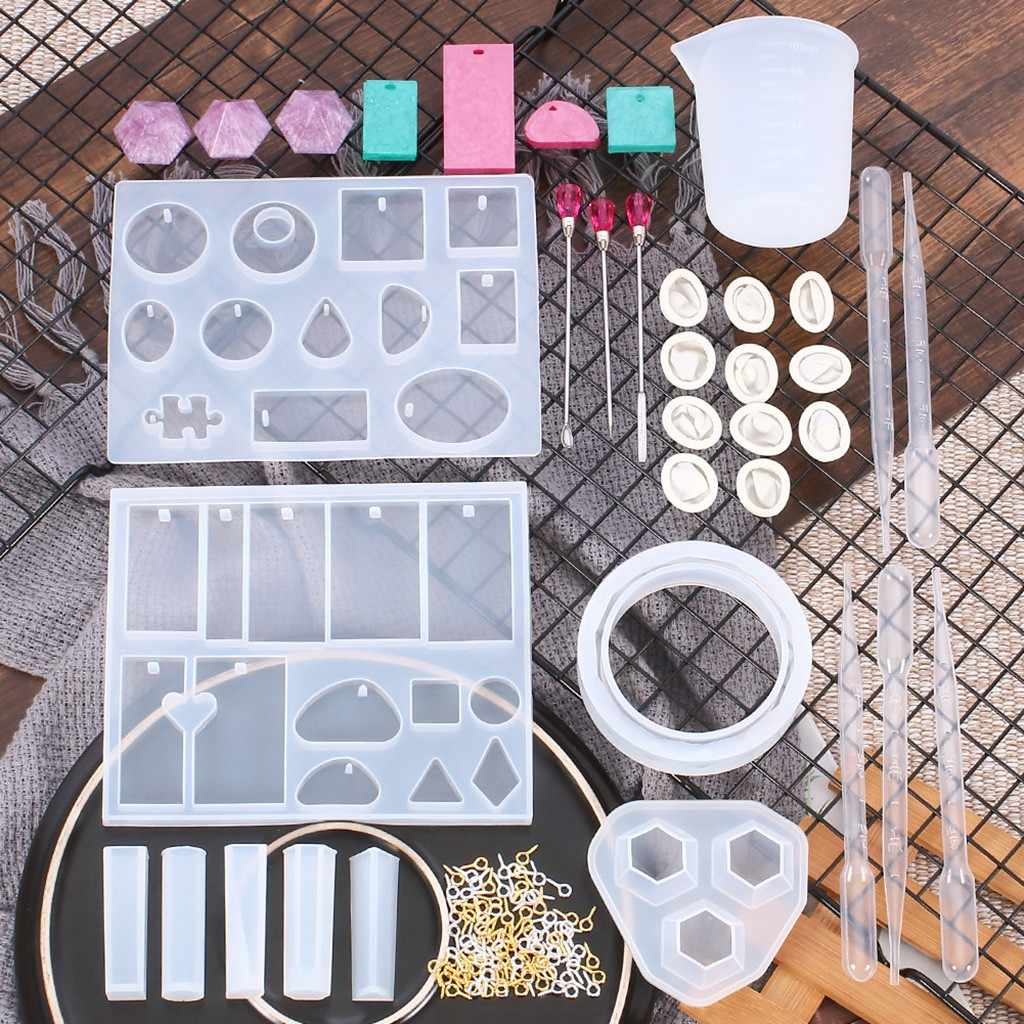 128pc Silicone Casting Molds For Resin Uv Resin Epoxy For Handmade Crystal Glue Diy Craft Jewelry Pendant Making Tools