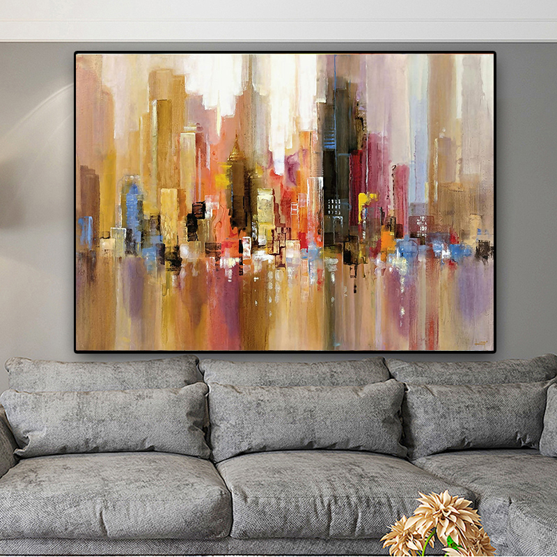 Modern Hand Painted Abstract City Canvas Painting Wall Art Print Poster Decorative Picture Canvas Oil Painting Home Decor