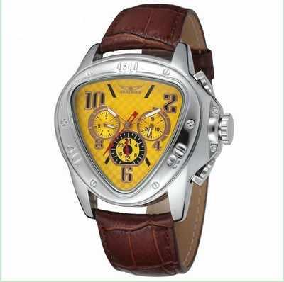 جديد الرياضة سباق تصميم هندسي مثلث تصميم جلد طبيعي حزام رجالي ساعات العلامة التجارية الفاخرة التلقائي الرجال ساعة معصم