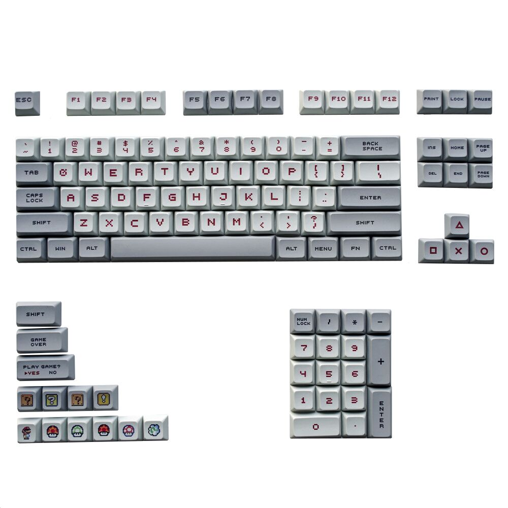 XDA Profile Mario Keycaps DYE Sublimation PBT 2.25U 2U 1.75U Key Cap For Mechanical Keyboard GH60 GK61 GK64 87 96 104 108