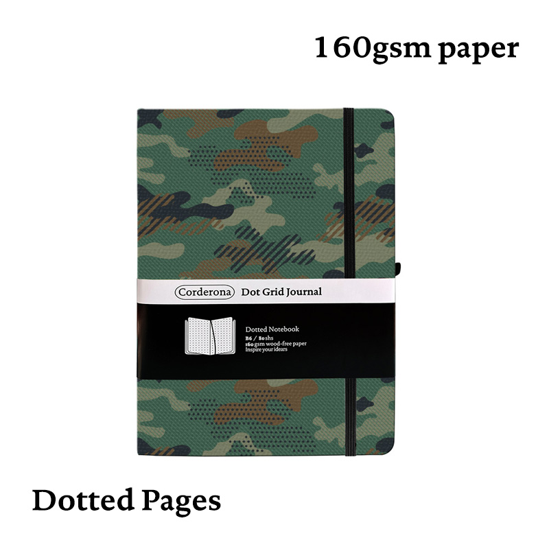 B6 Bullet Notebook  Dotted Journal Camouflage 160gsm Dot Grid Hard Cover A5 Elastic Band Thick Paper Travel Diary Bujo Planner