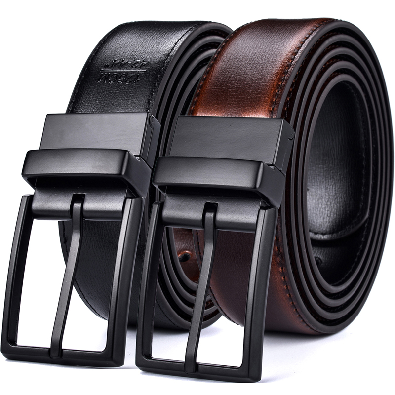 Men's Genuine Leather Reversible Belts For Men Dress Belts Designer Male Rotated Buckle Cowskin Leather Belt For Jean Two In One