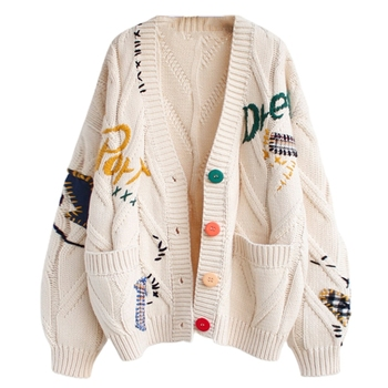Women Autumn Crochet Knitted Cardigan Long Sleeve Colorful Buttons Sweater Coat Letters Embroidery Vintage Patches Loose Jacket 1