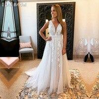A Line V Neck Unique Lace Wedding Dress Boho Bridal Gown 2020