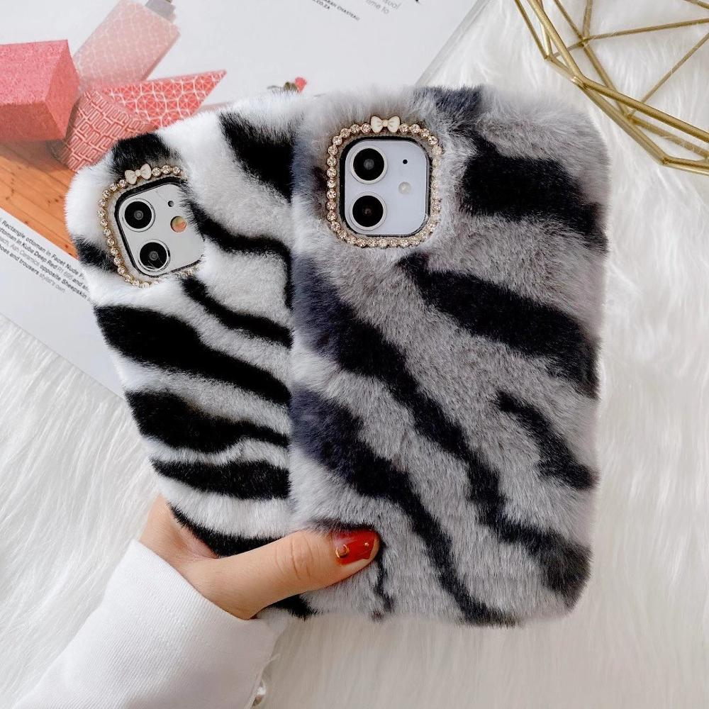 Cute Plush Phone Case for iPhone XS Max XR X 11 Pro MAX TPU Case Furry fluffy Warm Cover for iPhone 6 6S 7 8 Plus Soft Shell