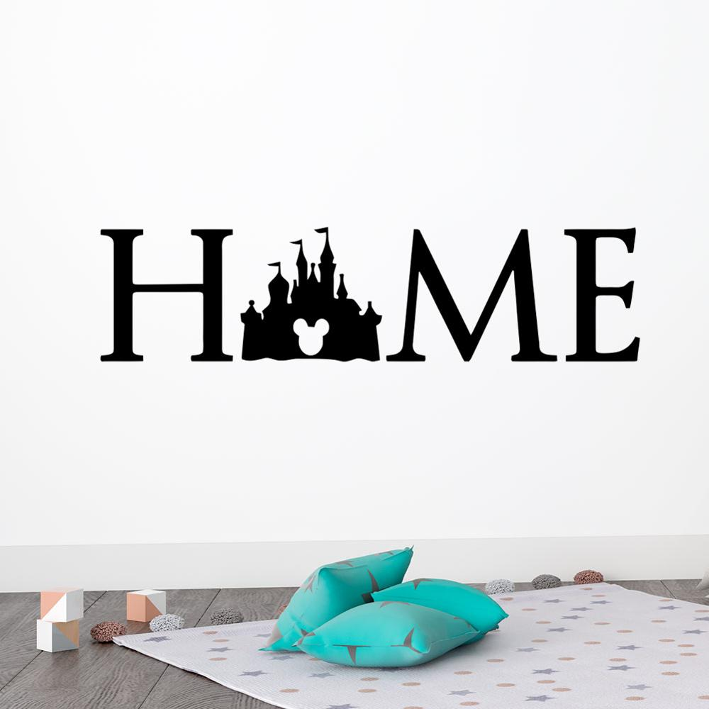 US $5.33 11% OFF|Disney Princess Castle Logo Wall Decal Quotes Mickey Mouse  Sticker Kids Room bedroom accessories Art Home Decor free shipping-in Wall  ...
