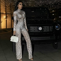 Fashion Sparkly Rhinestones Loose Legs Jumpsuit Sexy Women Birthday Prom Party Luxurious Outfit Stage Bodysuit Singer Costume
