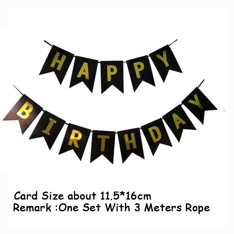 Купить с кэшбэком 13pc Black Gold Foil Happy Birthday Banners Card Disposable Home Decoration party decorations birthday party supplies kids