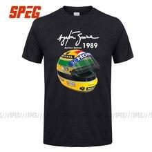 Ayrton Senna Helm T Shirts 1 Rennen 1989 Männer Baumwolle Kurzarm T Shirts Für Verkauf männer T-Shirt Freies verschiffen