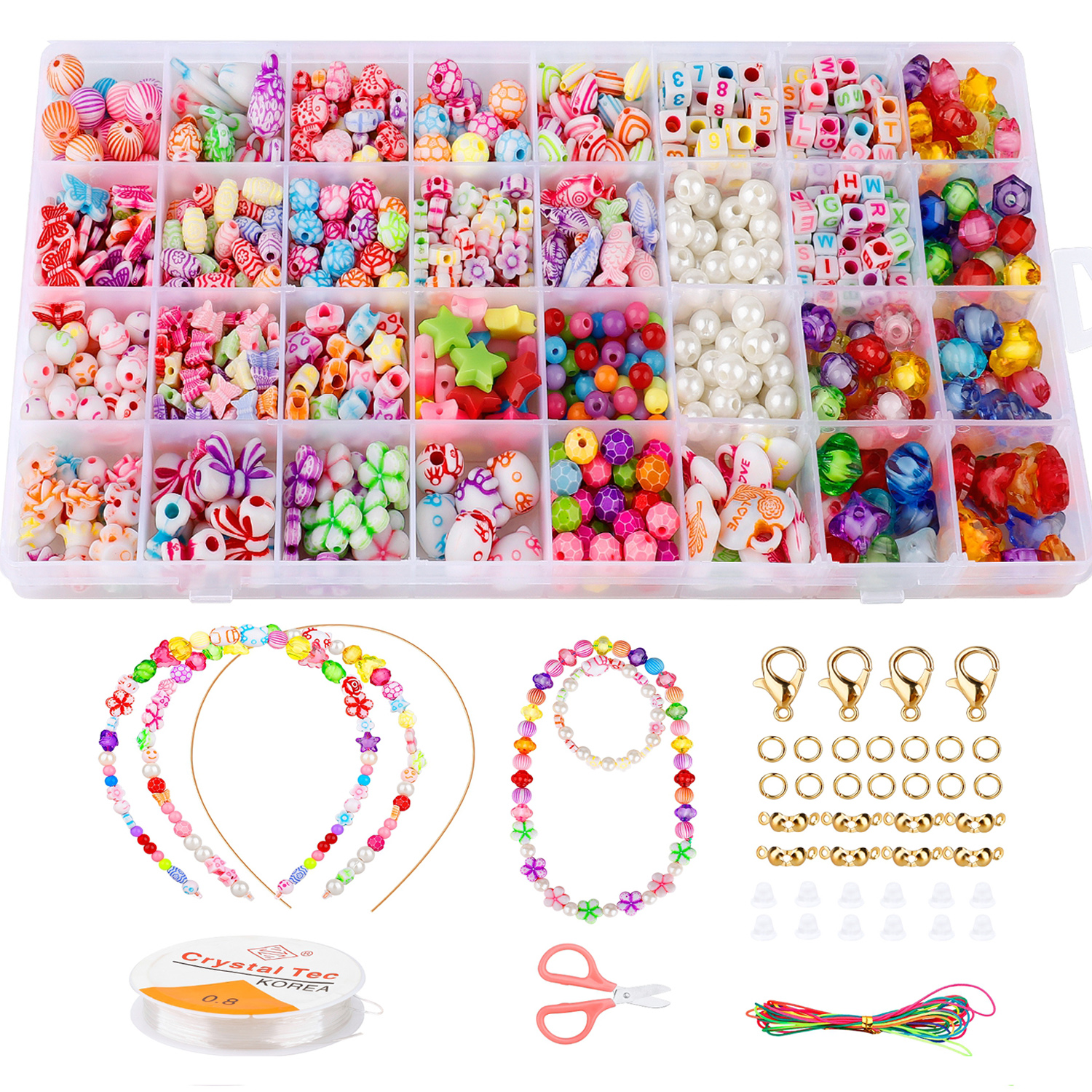 32 Grids Kids Colorful Acrylic Beads Set Box Toy Jewelry Making DIY Beaded Bracelets Necklaces String Threading Educational Gift