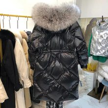 Women 2020 Winter New Big Real Fox Fur Collar Jacket Female Long White Duck Down Hooded Parkas Ladies Thick Warm Overcoats L185(China)
