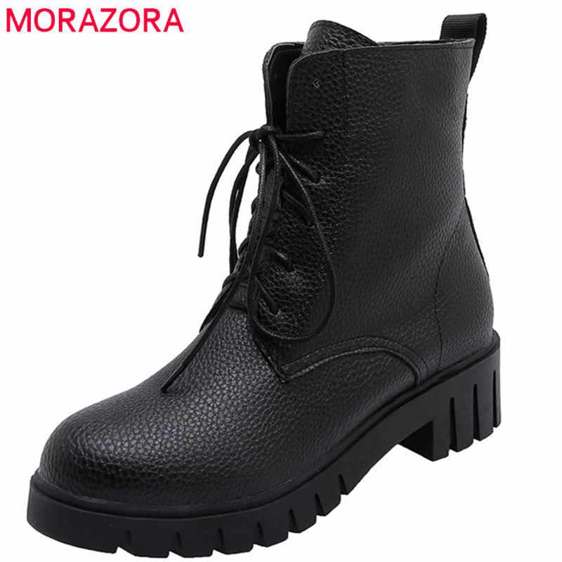 Morazora 2020 Nieuwe Aankomst Vrouwen Enkellaars Lace Up Herfst Winter Booties Ronde Neus Vierkante Lage Hakken Casual Schoenen Vrouwelijke