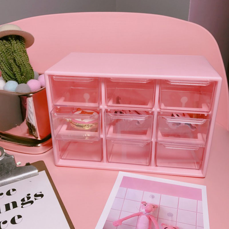 1 Pcs Pink 9 Grids Storage Case Box Holder Container 3 Layer Strationery Holder Bill Organizer Holder Student Office Supplies