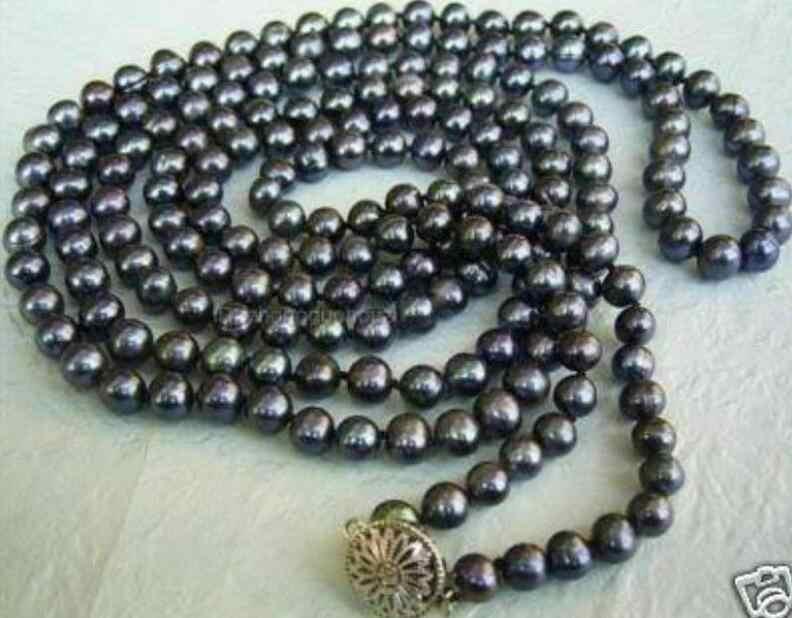 """36 """"50 дюймов длинные 8-9 мм черный Таити культивированный жемчуг Ожерелье"""