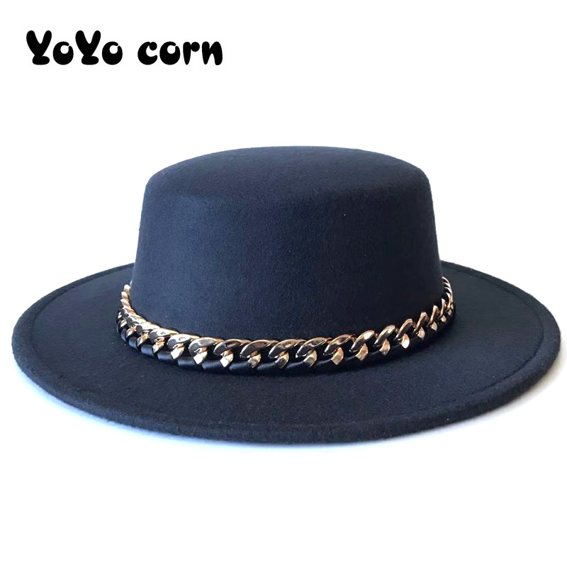 Ribbon Gentleman Elegant Cap Lady Winter Autumn Wide Brim Church Panama Sombrero Jazz Cap Golden Chain Women Men Wool Fedora Hat