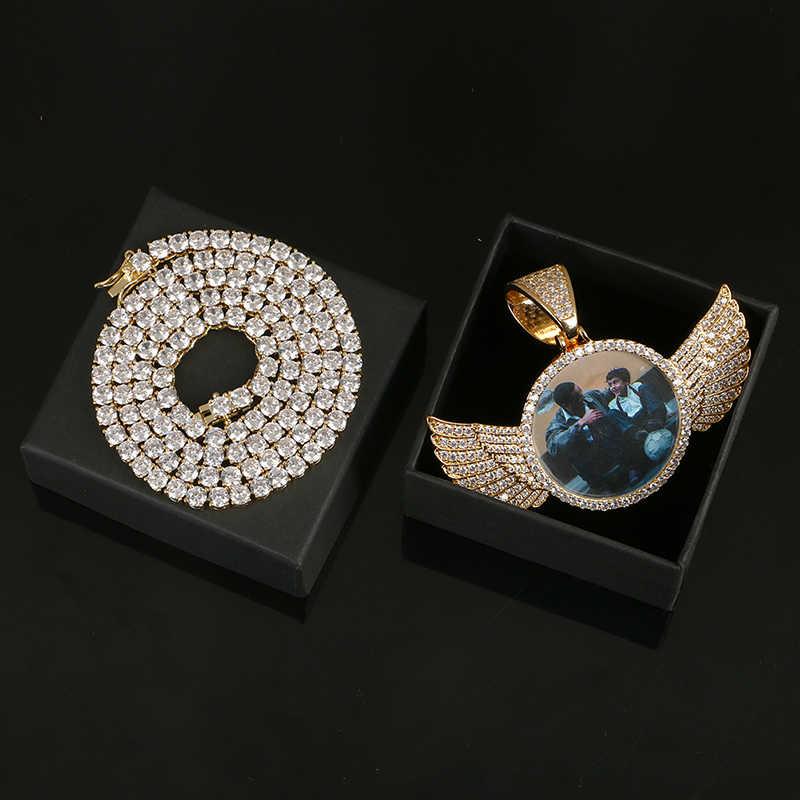 Роскошные фото с кристаллами Подвески с крыльями ангела ожерелья 3 цвета золото кубический циркон мужские хип хоп ювелирные изделия с коробкой