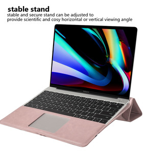 Image 2 - PU Leather Laptop Case for MacBook Pro 16 Inch Angle Guard Shockproof Stand Tablet Case for MacBook Pro Notebook Case + Bracket