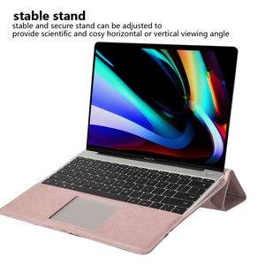 Image 2 - עור מפוצל מחשב נייד מקרה עבור macbook Pro 16 אינץ זווית משמר עמיד הלם Stand Tablet מקרה עבור macbook Pro מחברת מקרה + סוגר