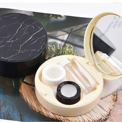 Charm Marble Lens Case Container Mirror Contact Lens Case Women Travel Glasses Eyes Care Kit Holder Geometric Round Lenses Box