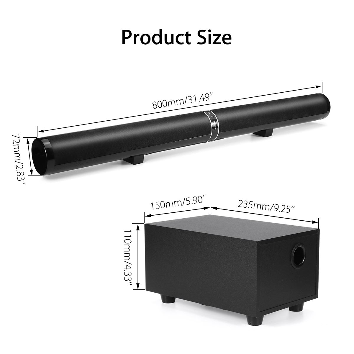 """45W 80cm 31.5"""" Soundbar with Subwoofer HiFi Detachable Wireless bluetooth Speaker 3D Surround Stereo  for TV Home Theatre System 5"""