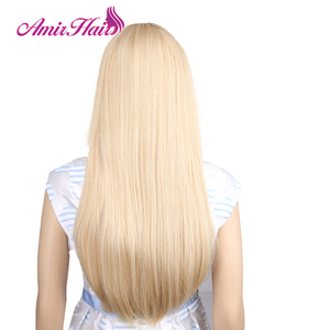 Image 5 - Amir Long Straight Light Blonde Synthetic Wigs With Bangs Cosplay Hair For Black/White Women High Temperature Fiber