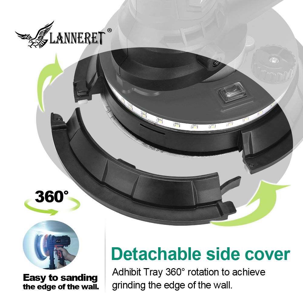 Image 4 - LANNERET Wall Polisher Drywall Sander Handheld Variable Speed Dry Wall Sander LED Strip Light Dust Free  850W / 1280W-in Sanders from Tools on