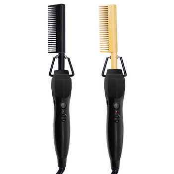 gold black newest gold hair comb Fast Smoothing Electric Hair Straightener Brush Ceramic Heating Temperature - DISCOUNT ITEM  55 OFF Beauty & Health