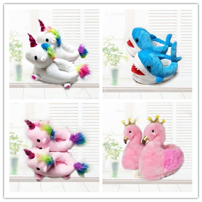 Winter Warm Cotton Cute Kids Slippers Unicorn Plush Baby Cartoon Flamingo Shark Room Shoes Foot Wrapped