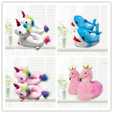 Winter Warm Cotton Cute Kids Slippers Unicorn Plush Baby Cartoon Flamingo Shark Room Shoes Foot Wrapped