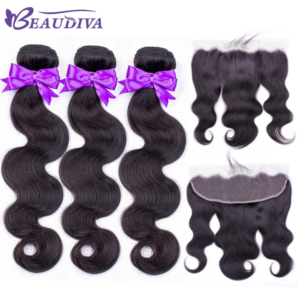 Peruvian Hair Weave Bundles With Frontal Beaudiva Body Wave Human Lace Closure