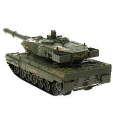 цена на 1/40 German 2A6 Rotation Tank Model Pull Back Car with Music LED Toy New Educational Gifts Soldiers Tank